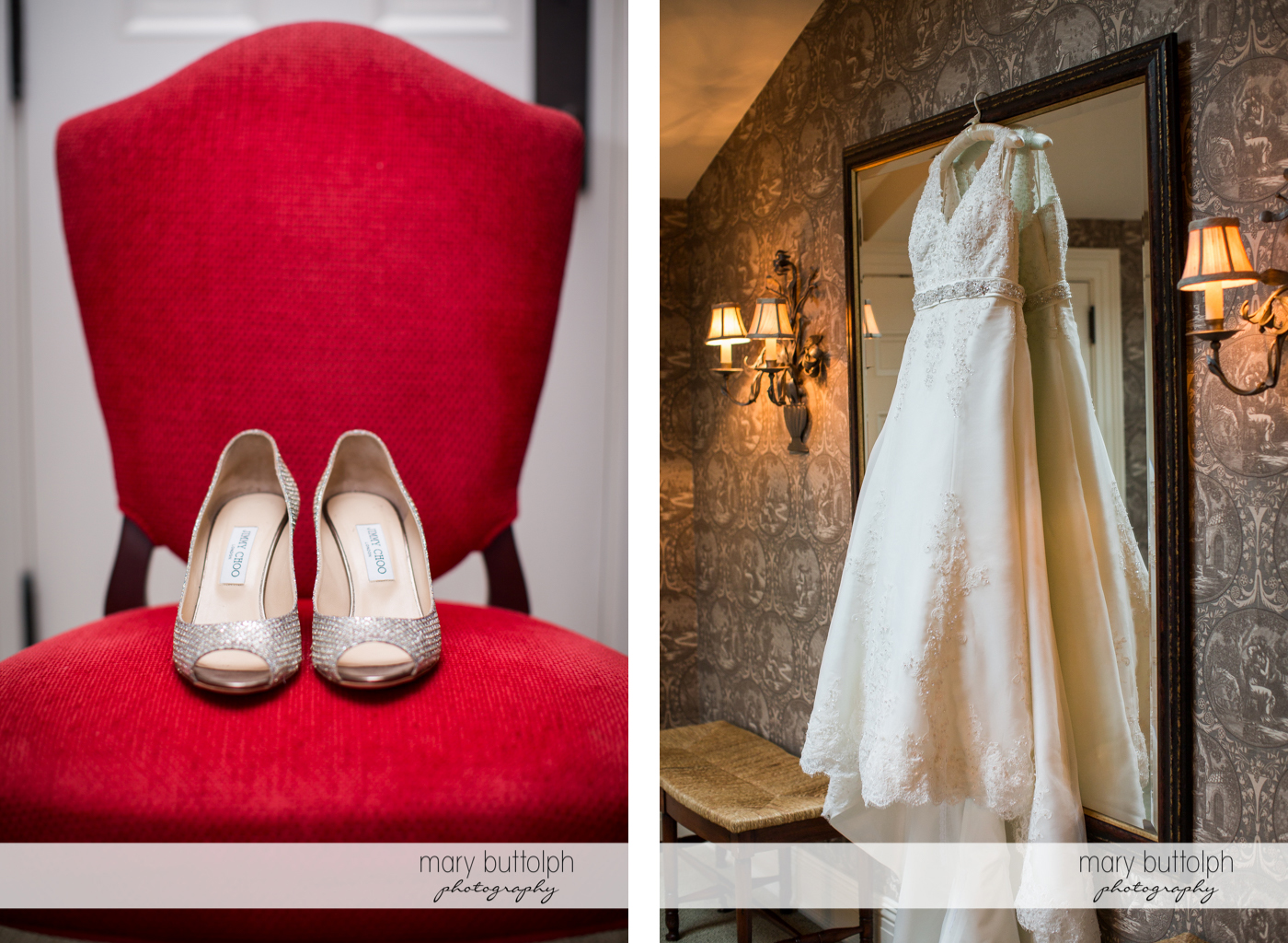 Bride's wedding shoes on a chair while her wedding gown hangs from the Inns of Aurora Wedding