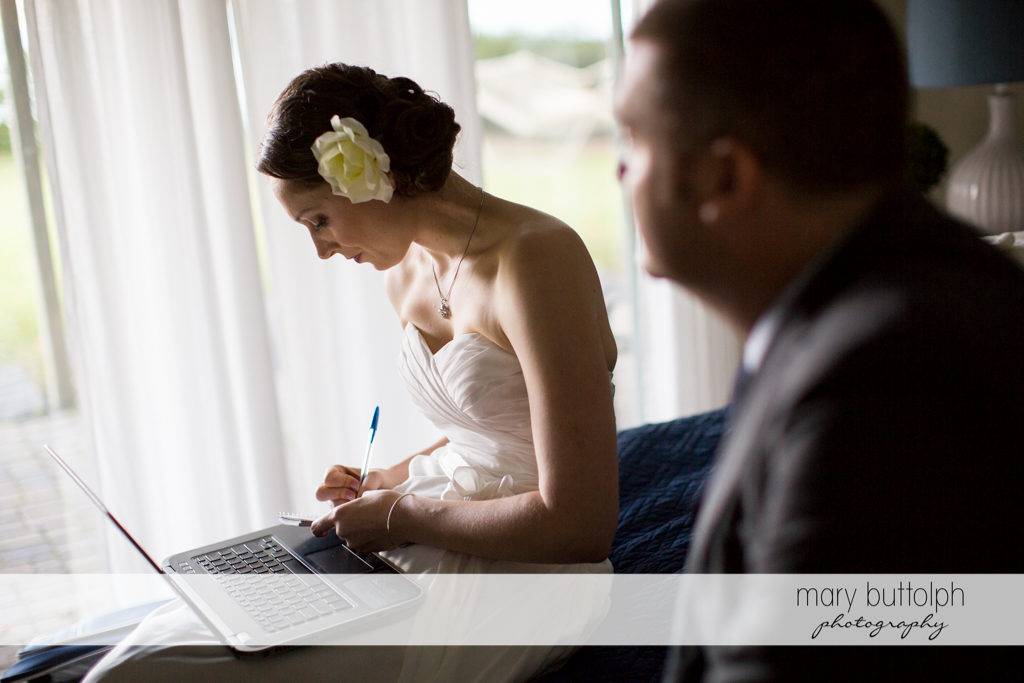 Couple spend time in the room at Anyela's Vineyards Wedding