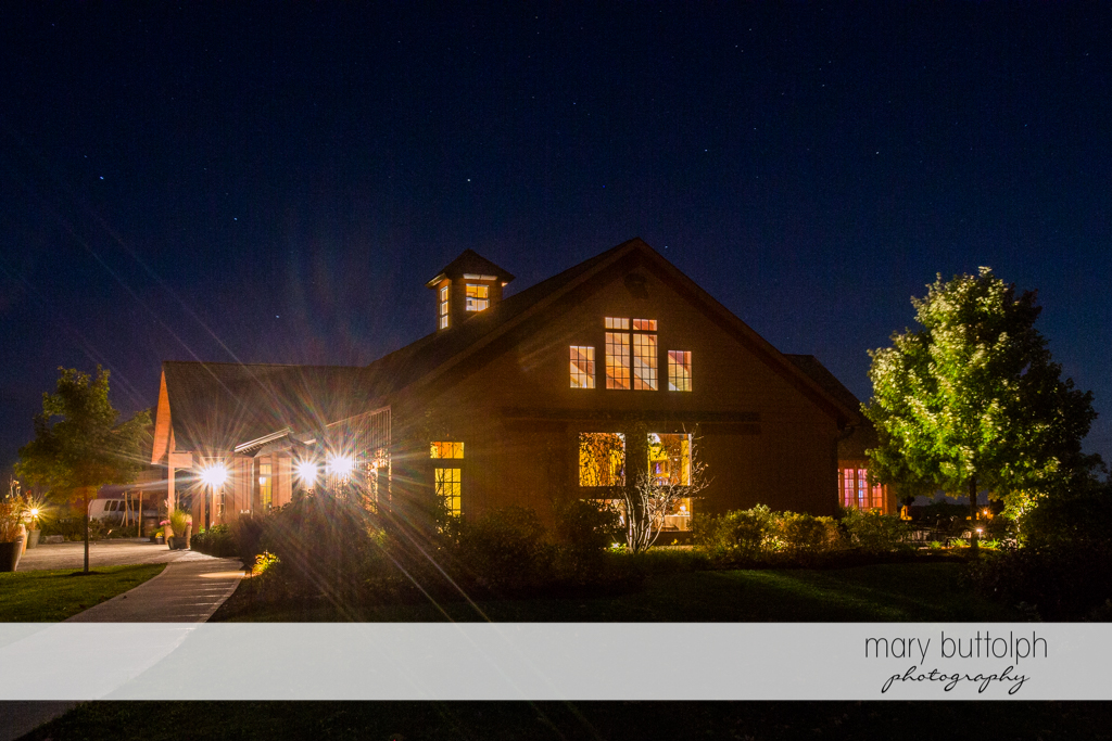 The wedding venue is all lit up for the couple's special day at Anyela's Vineyards Wedding