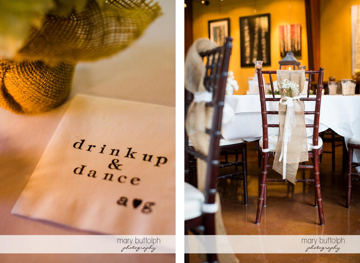 Couple's personalized napkin and the wedding venue at Anyela's Vineyards Wedding