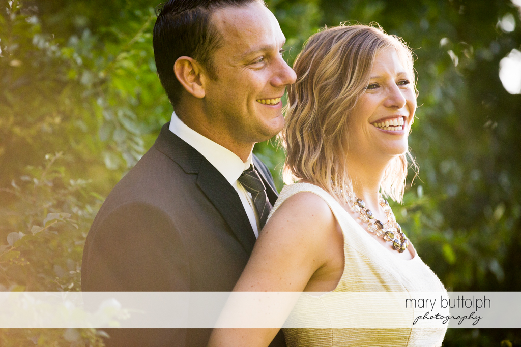 Close up shot of couple in the garden at the Inns of Aurora Engagement
