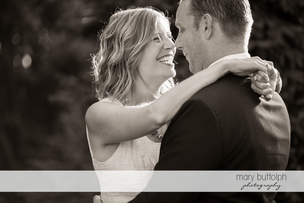 Couple in a great black and white shot at the Inns of Aurora Engagement