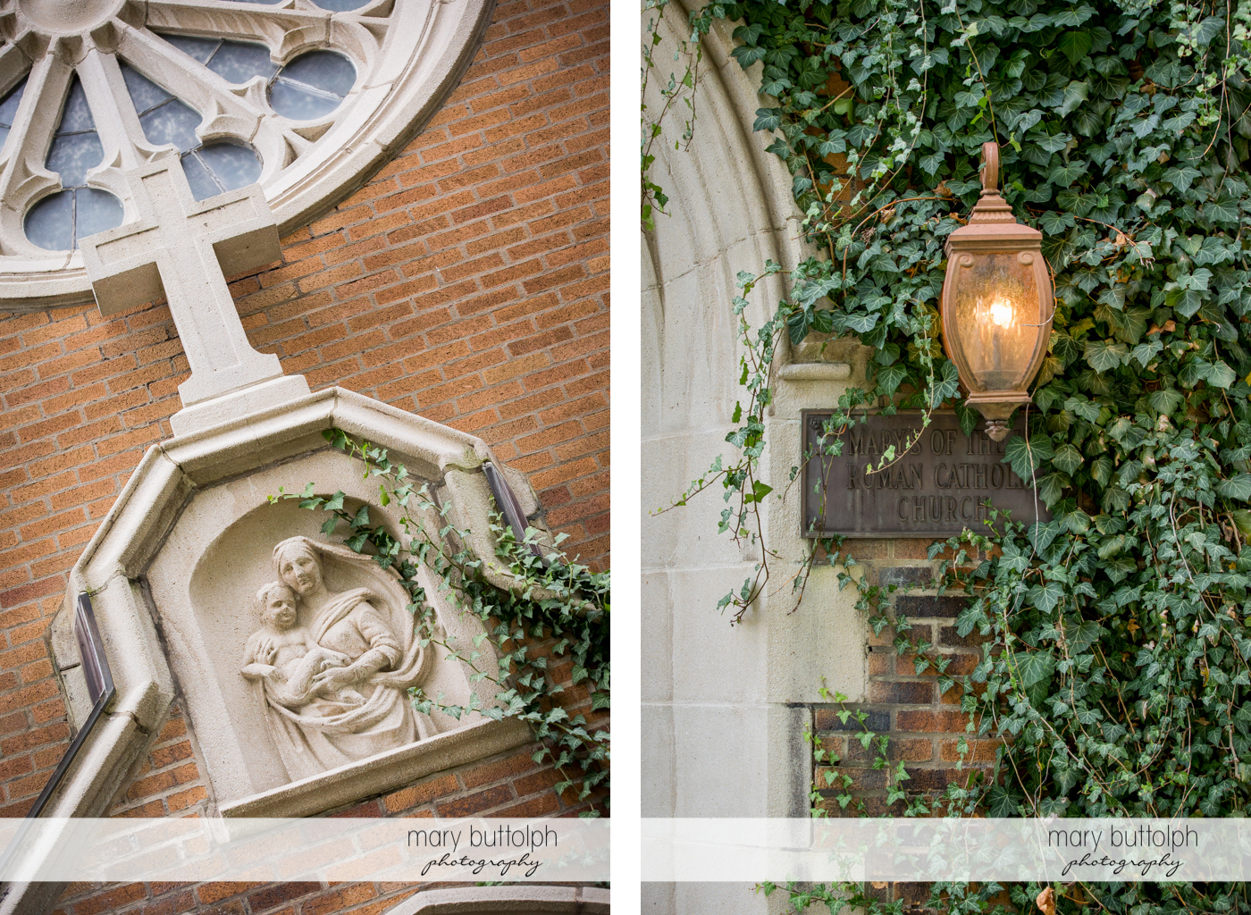 Different views of the church at Skaneateles Country Club Wedding