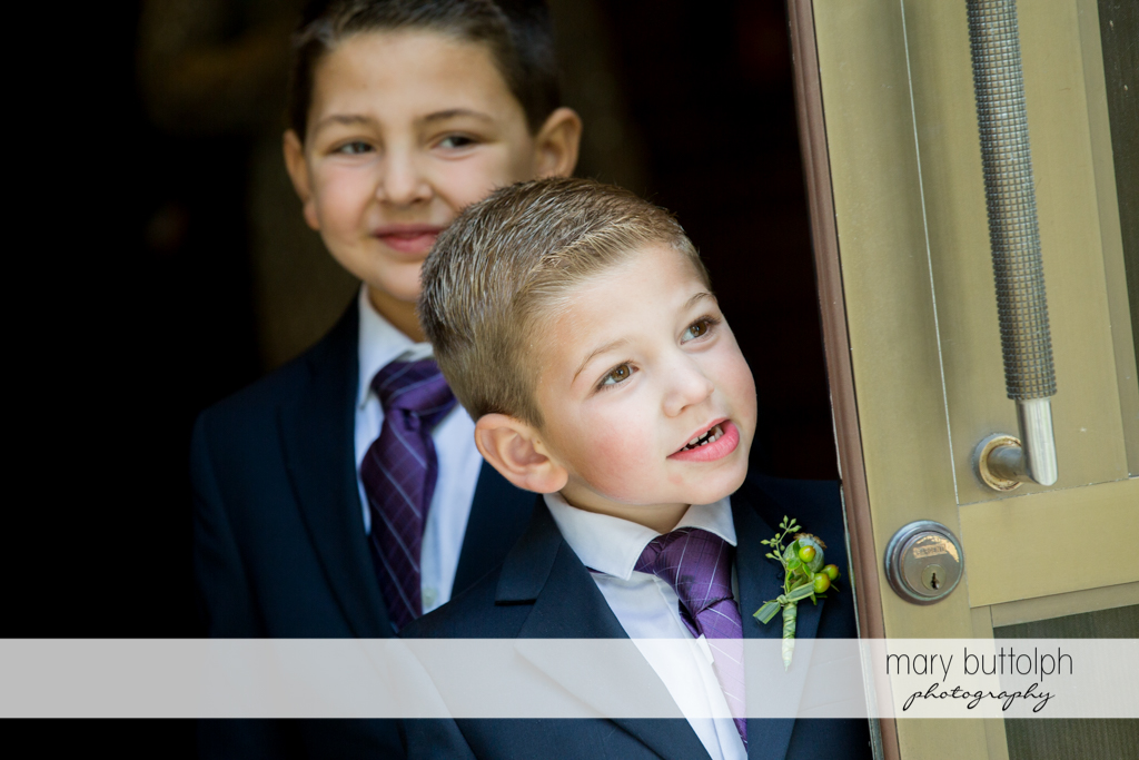 Young boys wait for the bride at Skaneateles Country Club Wedding