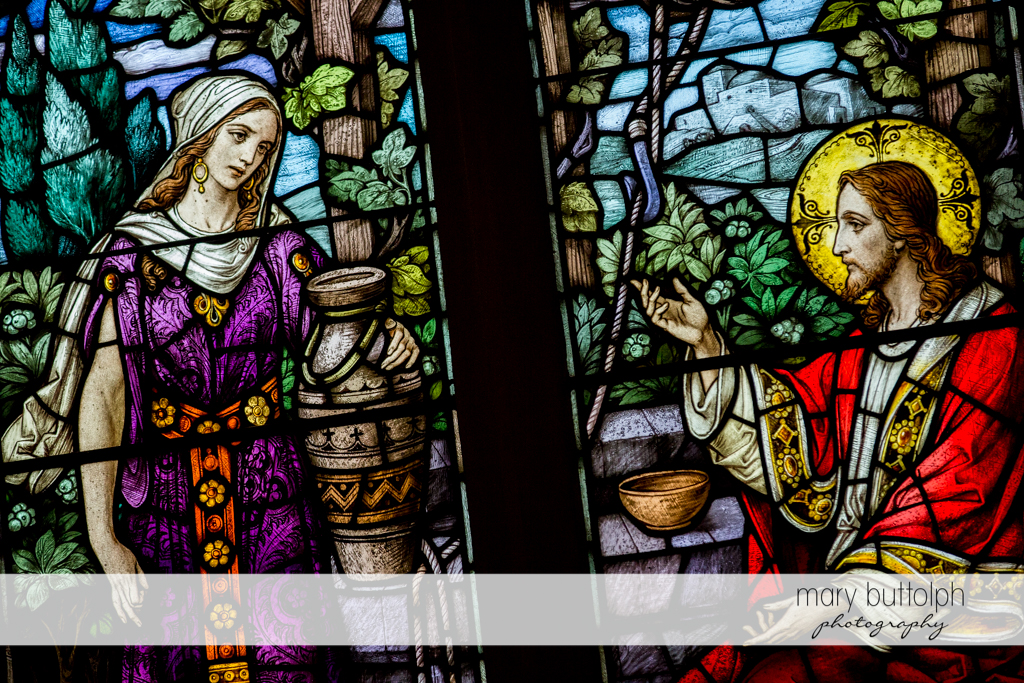 Detail of the church's stained glass windows at Skaneateles Country Club Wedding
