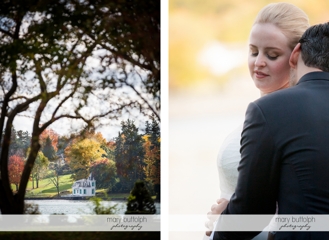 Long shot of the lakeside house and the couple at Skaneateles Country Club Wedding