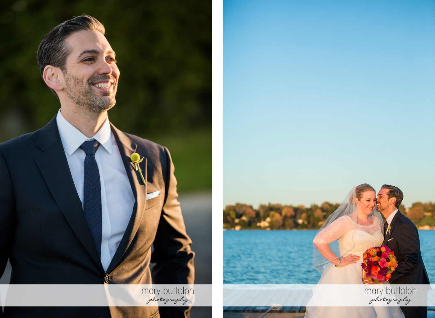Solo shot of the groom and with the bride near the lake at Skaneateles Country Club Wedding