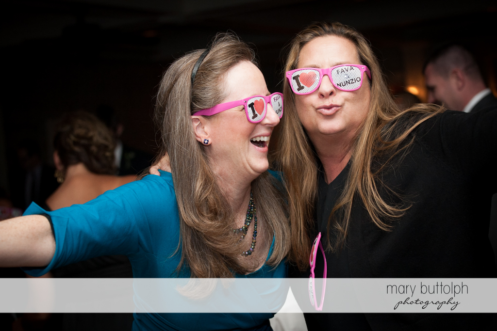 Guests wear personalized glasses with the couple's nicknames at Skaneateles Country Club Wedding