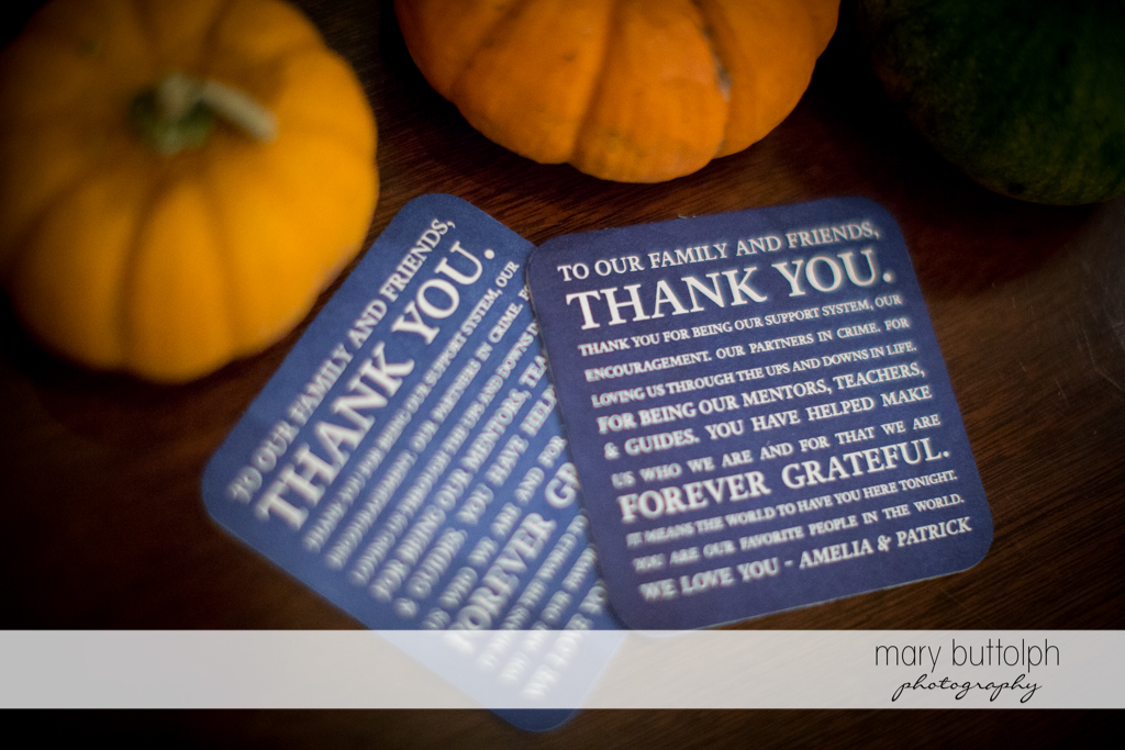 Thank you cards for the couple's parents and guests at Skaneateles Country Club Wedding