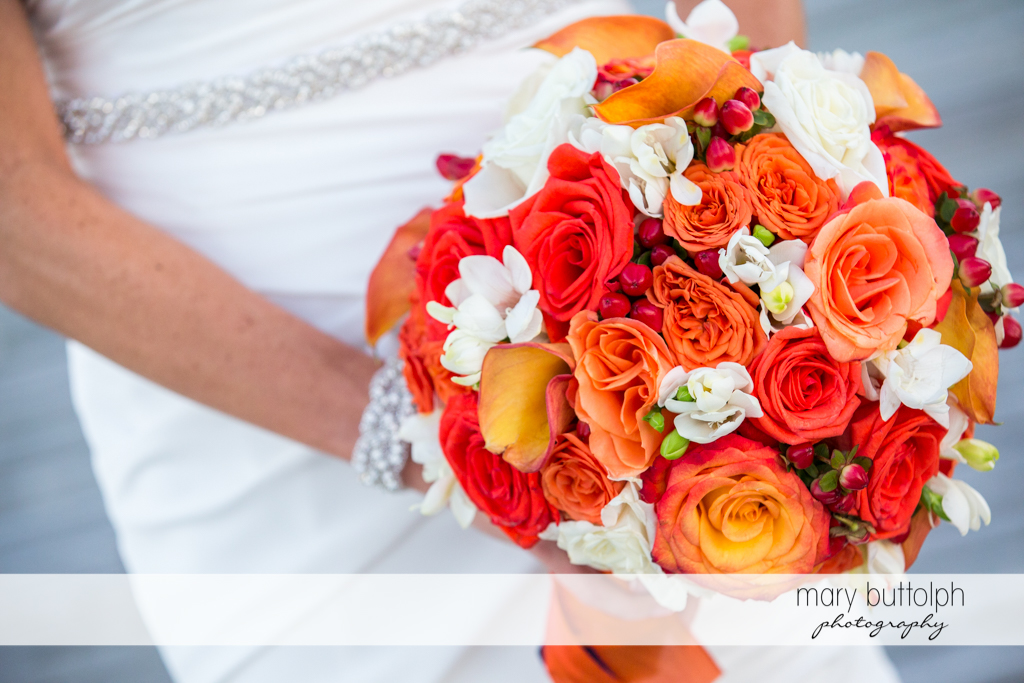 Close up shot of the bride's lovely bouquet at Skaneateles Country Club Wedding