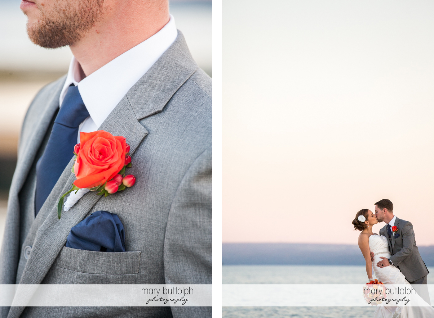 Close up shot of the groom's boutonniere and the couple kissing by the lake at Skaneateles Country Club Wedding