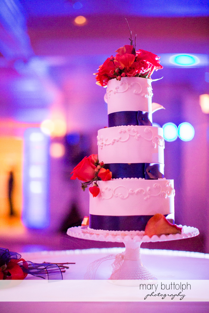 Couple's wedding cake at the wedding venue at Skaneateles Country Club Wedding