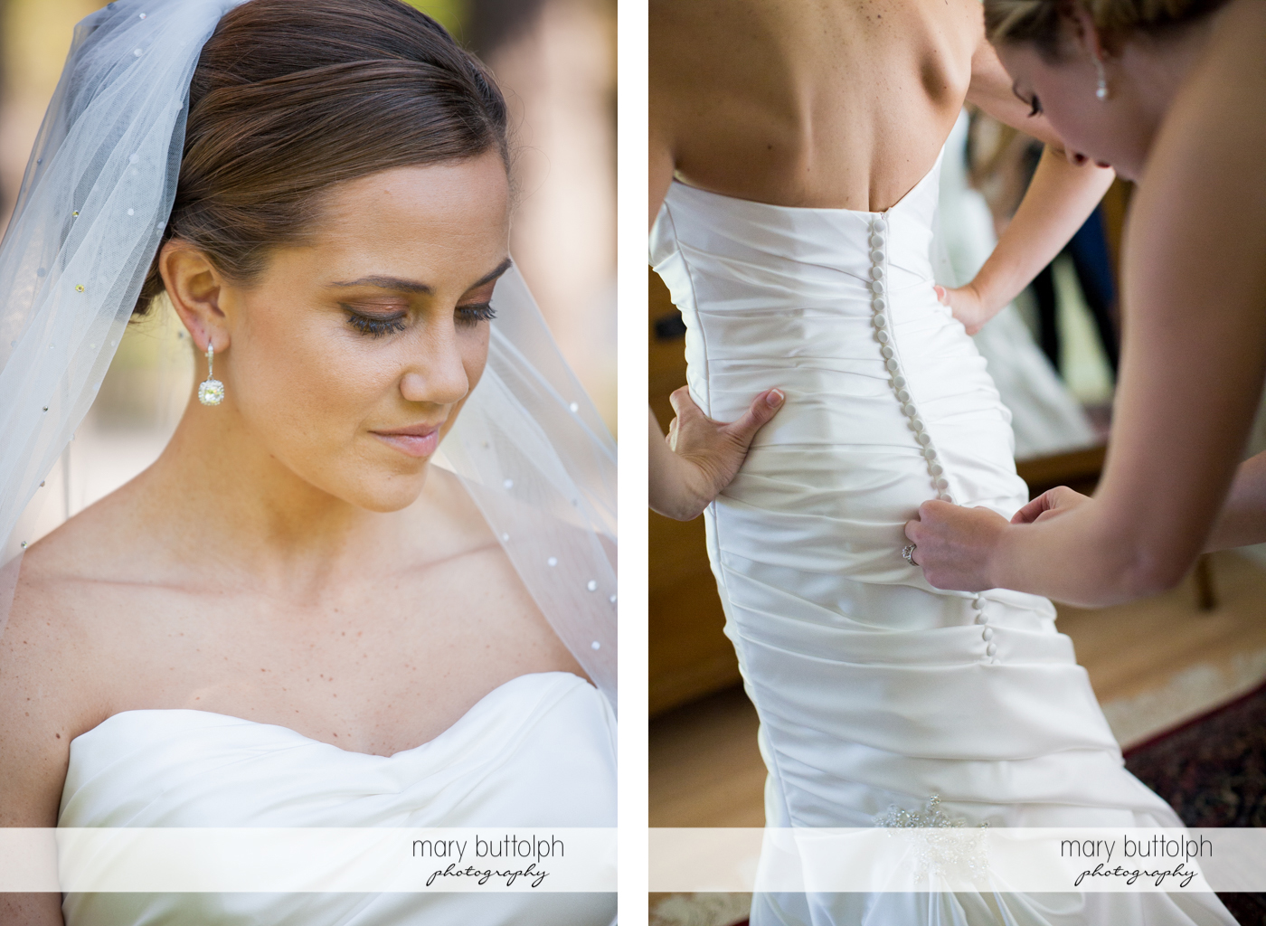 Bride slips on her wedding dress with a little help from a friend at Skaneateles Country Club Wedding