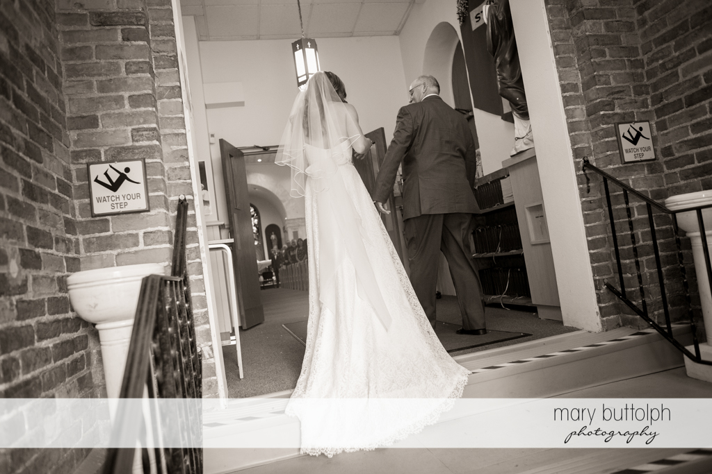 Bride and her father prepare to enter the church at the Sherwood Inn Wedding