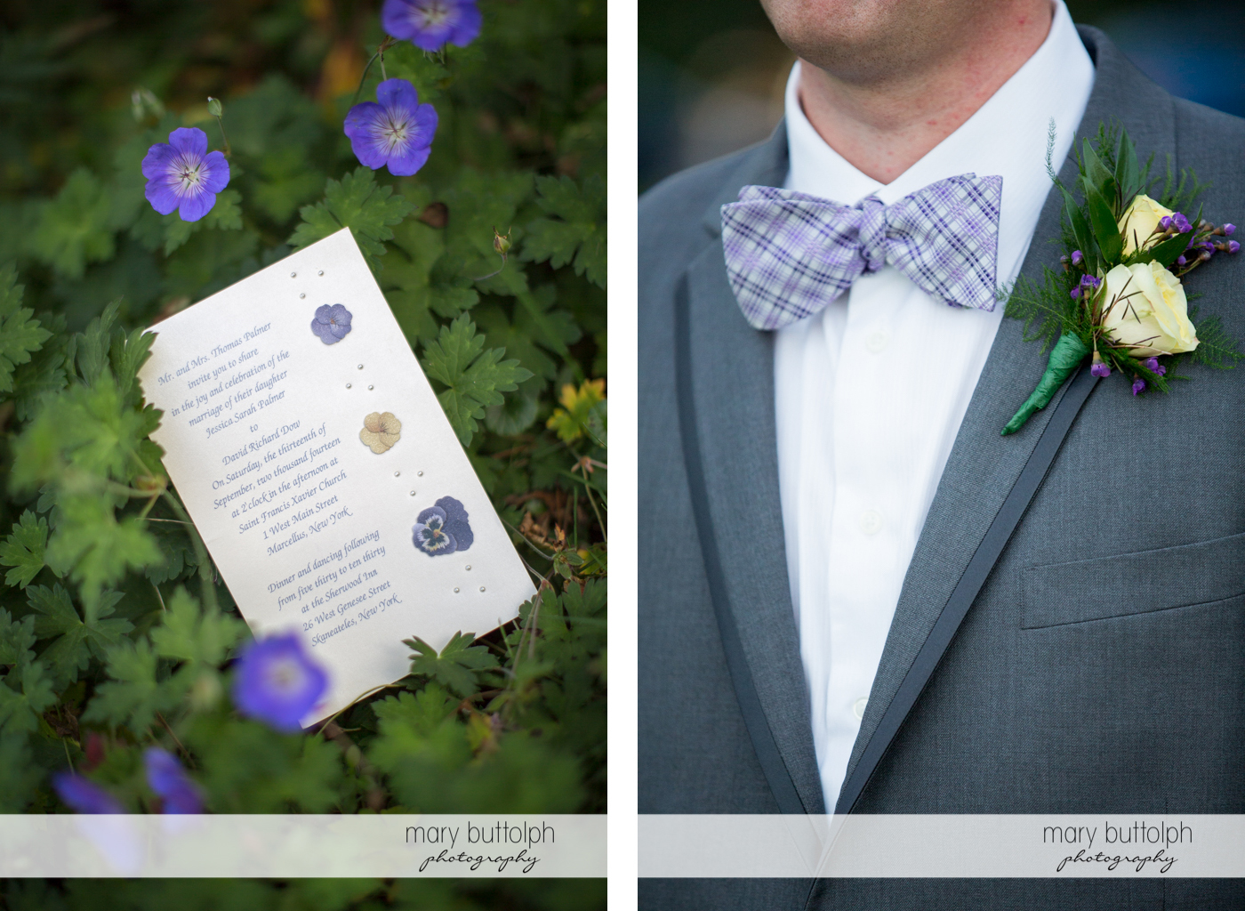 Couple's wedding program on top of lavender plants and a close up shot of the groom's boutonniere at the Sherwood Inn Wedding
