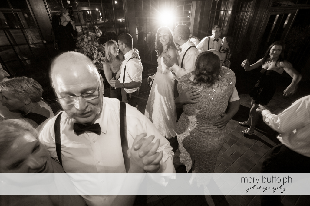 Couple and their guests show their dance moves at the wedding venue at the Sherwood Inn Wedding