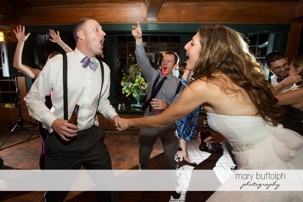 Couple have a good time on the dance floor at the Sherwood Inn Wedding