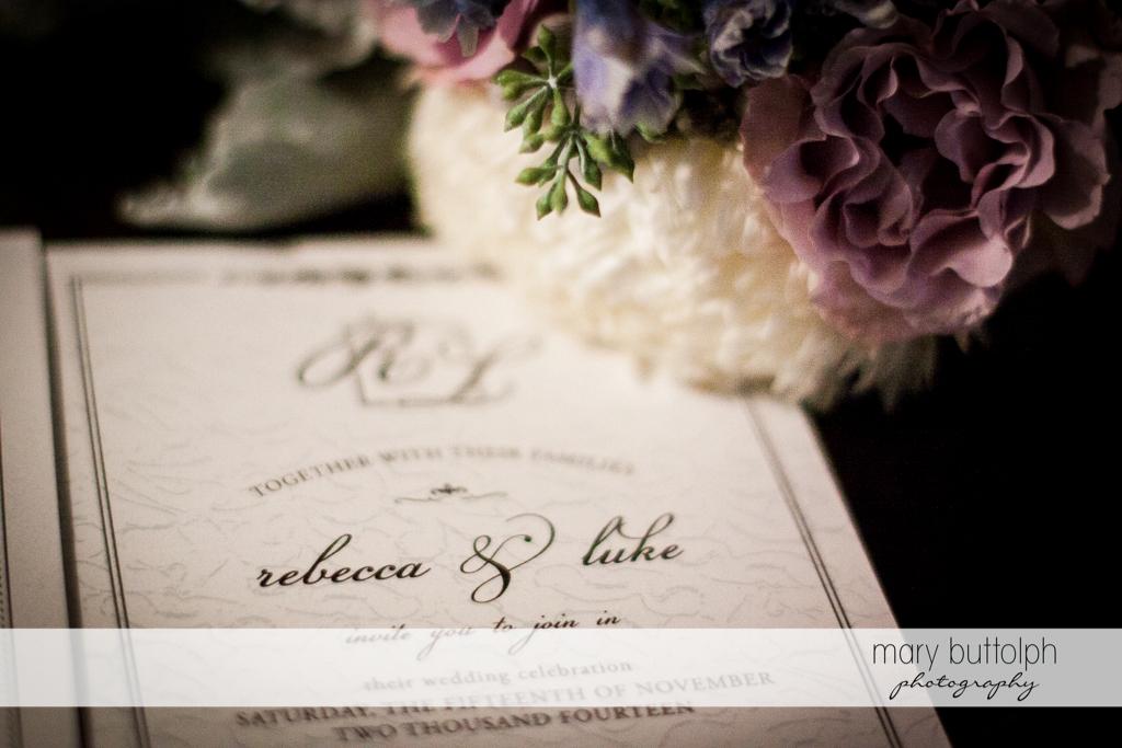 Couple's wedding program at Rowland House Wedding