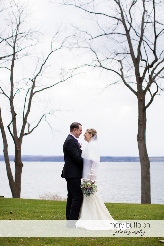 Couple near the lake at Rowland House Wedding