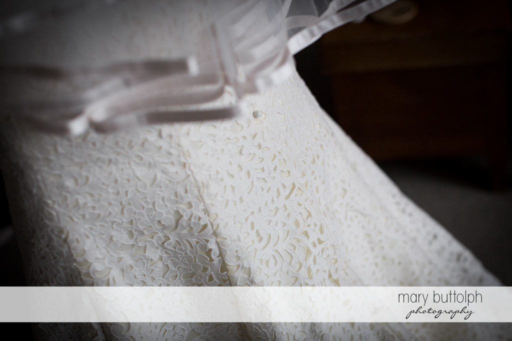 Close up shot of the bride's wedding gown at Rowland House Wedding