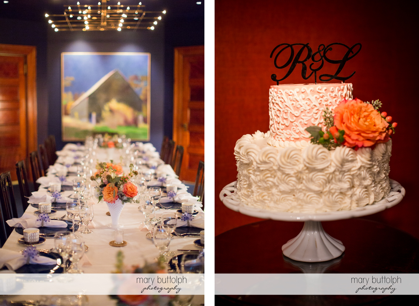 The wedding venue and the couple's wedding cake at Rowland House Wedding