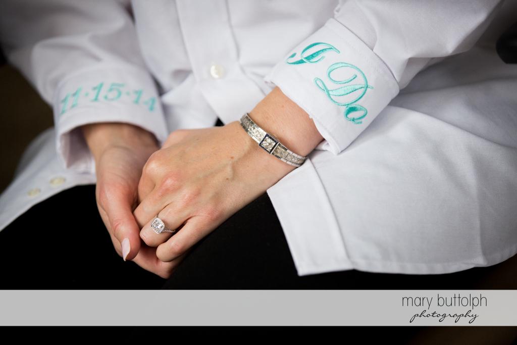 Close up shot of bride's wedding ring and bracelet at Rowland House Wedding