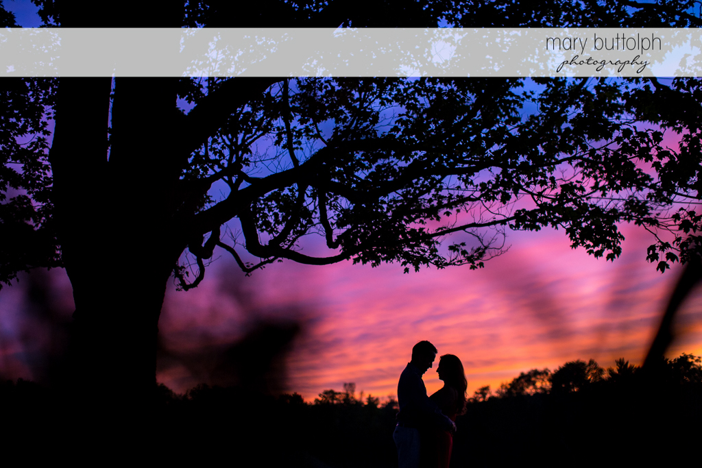 Couple catch the sunset at Cazenovia Engagement