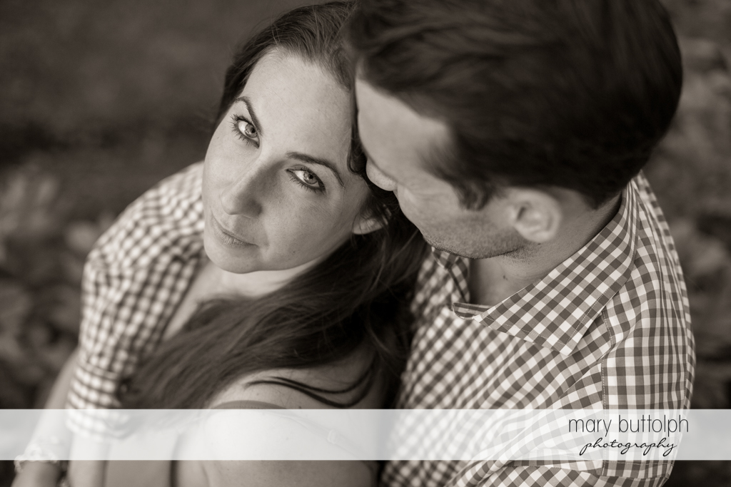 Couple's precious moments captured in dramatic black and white shot at Cazenovia Engagement
