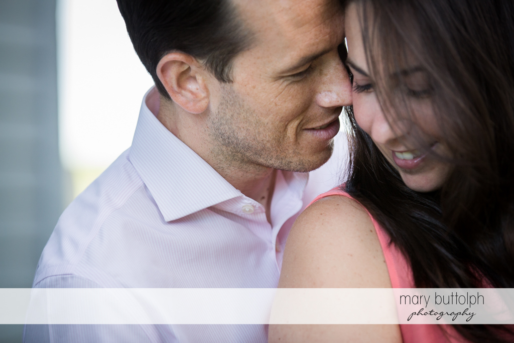 Couple in an intimate moment at Cazenovia Engagement