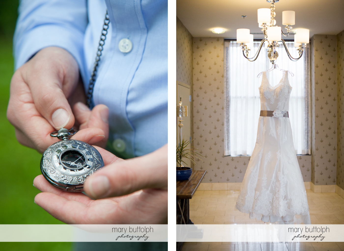 Close up shot of an old watch and the bride's wedding gown at Frog Pond Bed & Breakfast Wedding