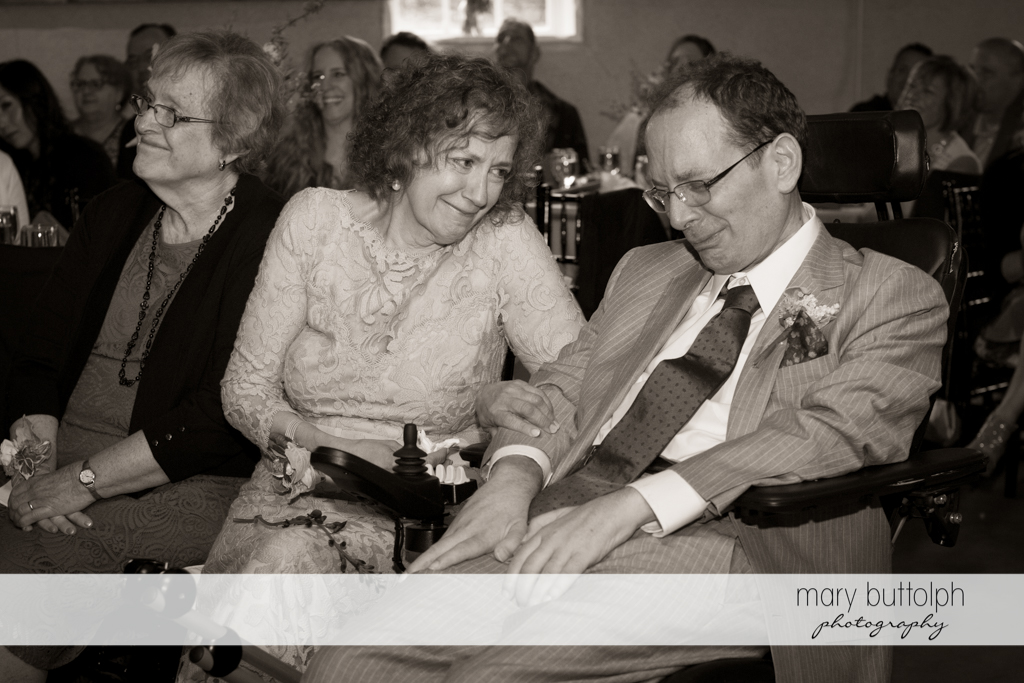 Bride's parents at the wedding ceremony at Frog Pond Bed & Breakfast Wedding