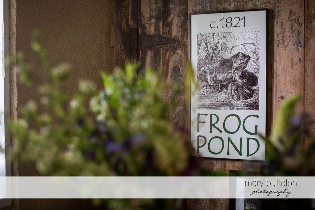 Old sign on a wall at Frog Pond Bed & Breakfast Wedding