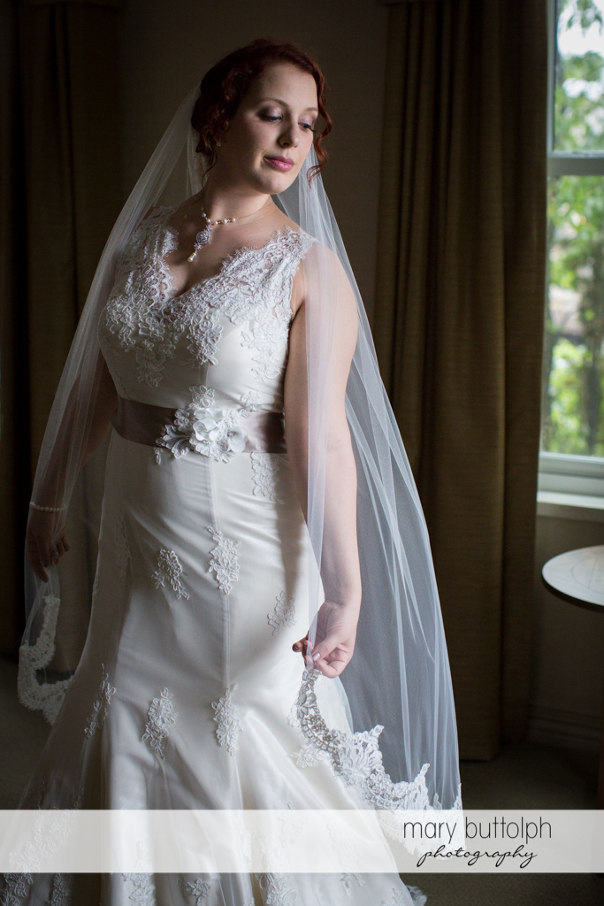 Bride in a serious mood at Frog Pond Bed & Breakfast Wedding