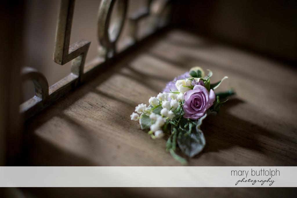 Bride's corsage at Frog Pond Bed & Breakfast Wedding