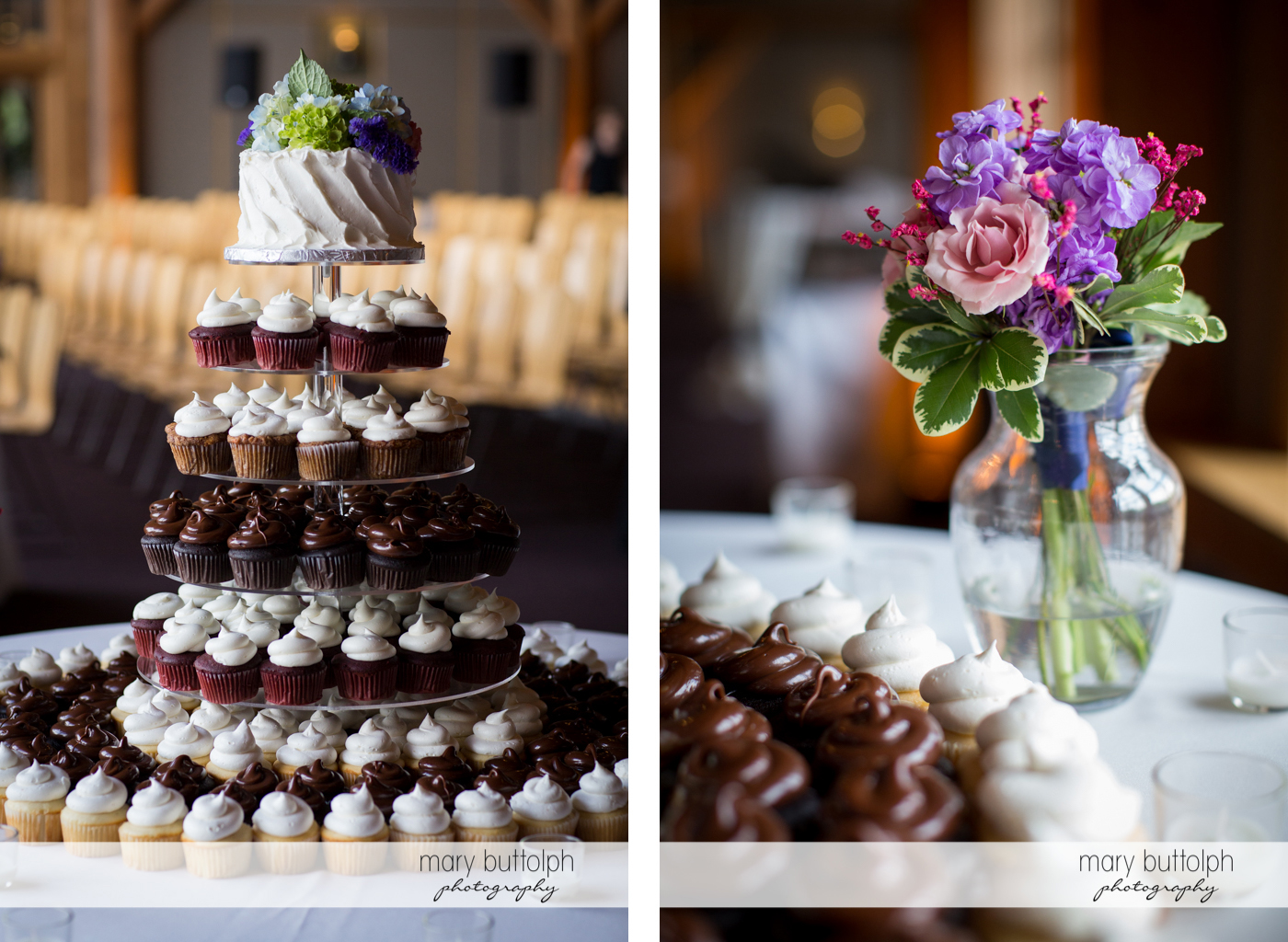 Couple's wedding cake is surrounded by cupcakes and decorated with flowers at the Lodge at Welch Allyn Wedding