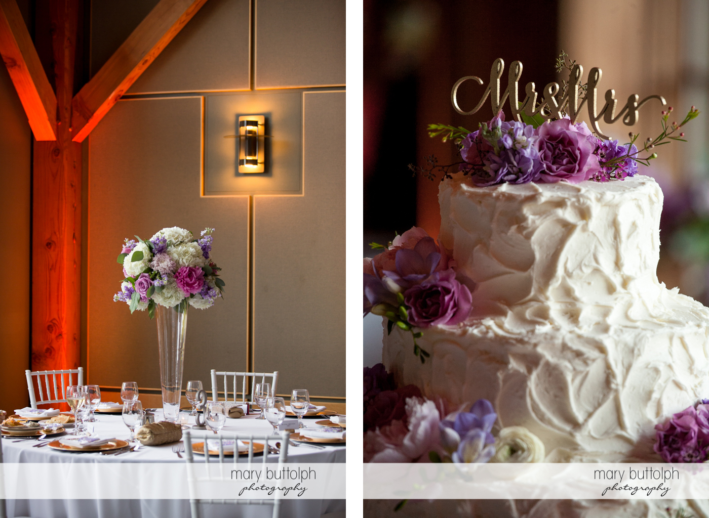 Flowers decorate the table and the couple's wedding cake at the Lodge at Welch Allyn Wedding