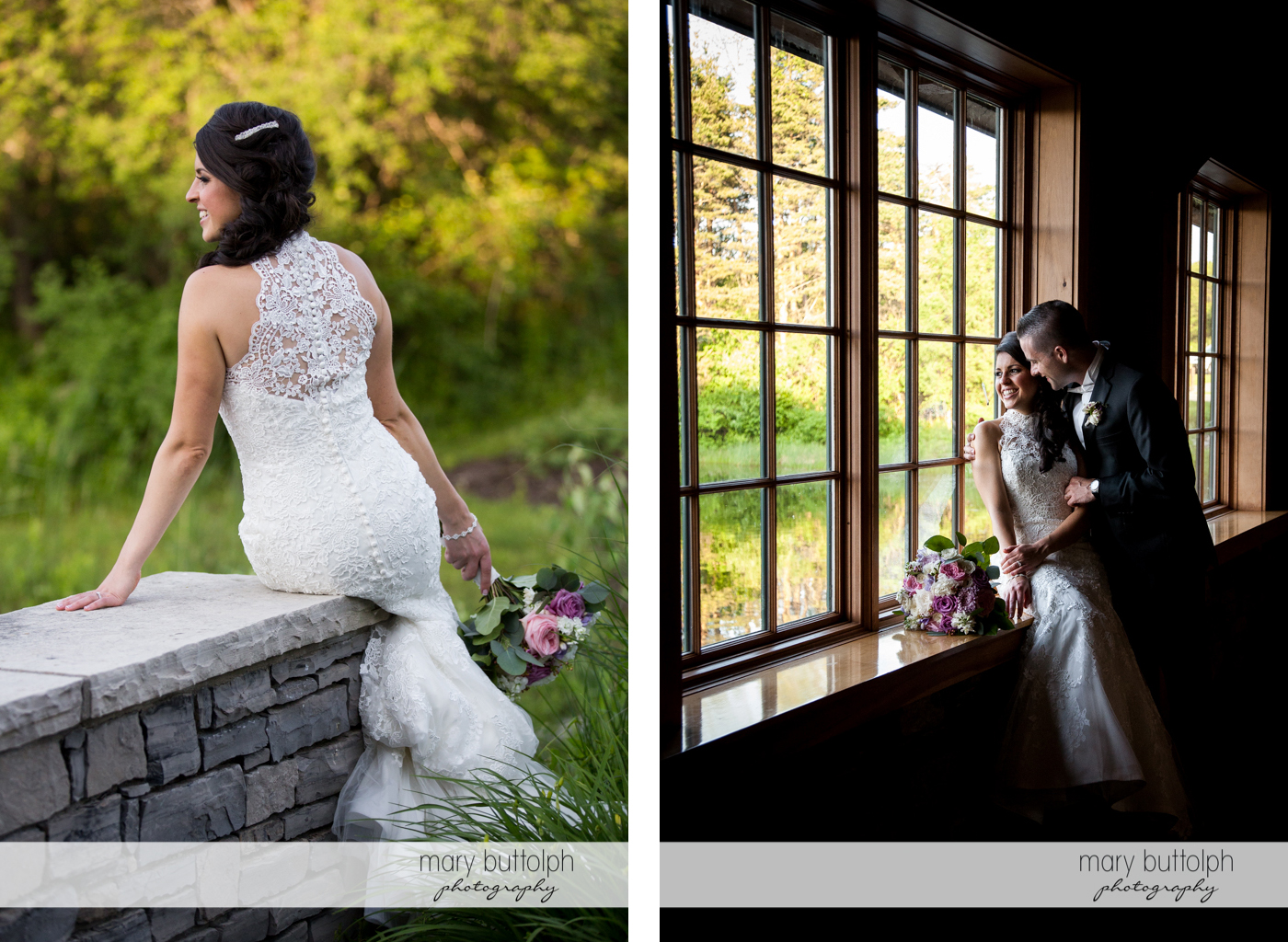 Two shots of the bride sitting on a stone wall and near the window at the Lodge at Welch Allyn Wedding