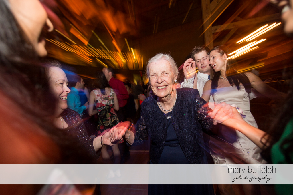 Grandma shows her moves on the dance floor at the Lodge at Welch Allyn Wedding