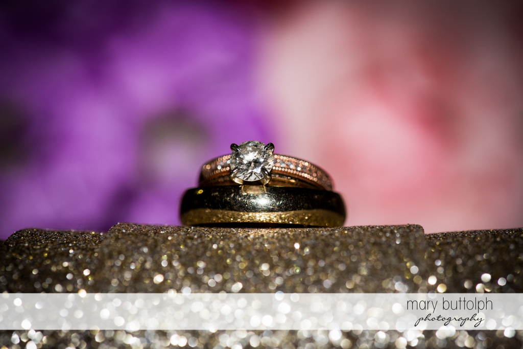 Couple's wedding rings at the Lodge at Welch Allyn Wedding