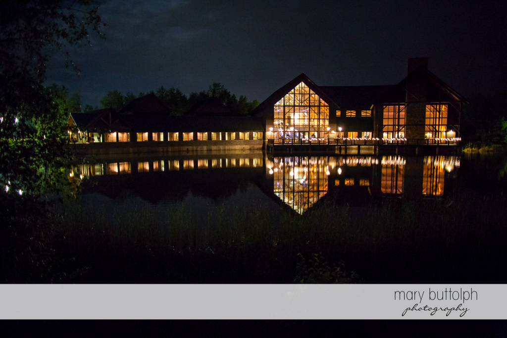 The wedding venue in front of the lake at the Lodge at Welch Allyn Wedding