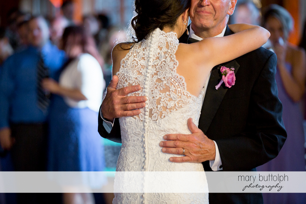 Bride and her dad on the dance floor at the Lodge at Welch Allyn Wedding
