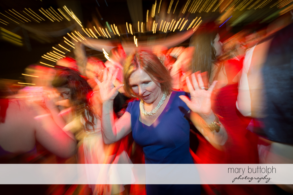Guest shows her dance moves at the Lodge at Welch Allyn Wedding