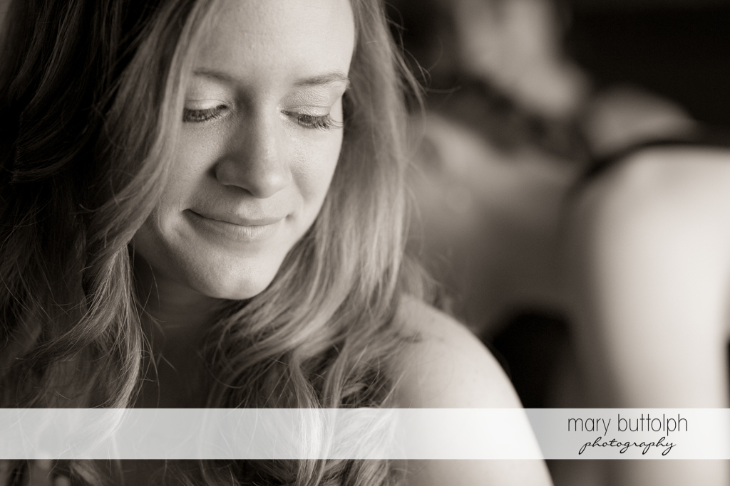 Dramatic black and white shot of the bride at the Lodge at Welch Allyn Wedding