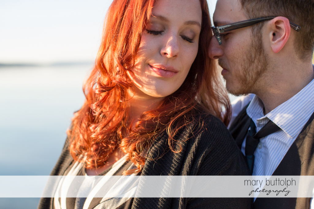 Couple spend time at the lake at Skaneateles Engagement