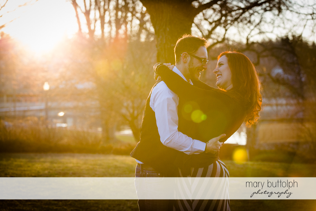 Couple bask in the sun at Skaneateles Engagement