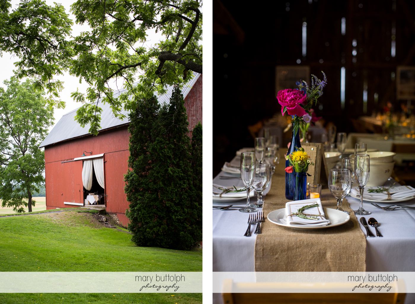 Entrance to the wedding venue and one of the tables at Mandana Barn Wedding