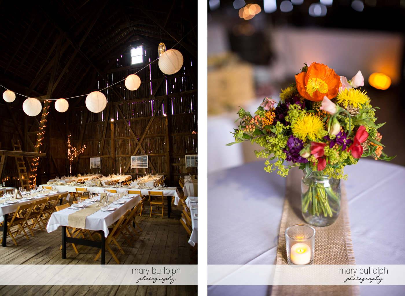The wedding venue and close up shot of flowers on the table at Mandana Barn Wedding