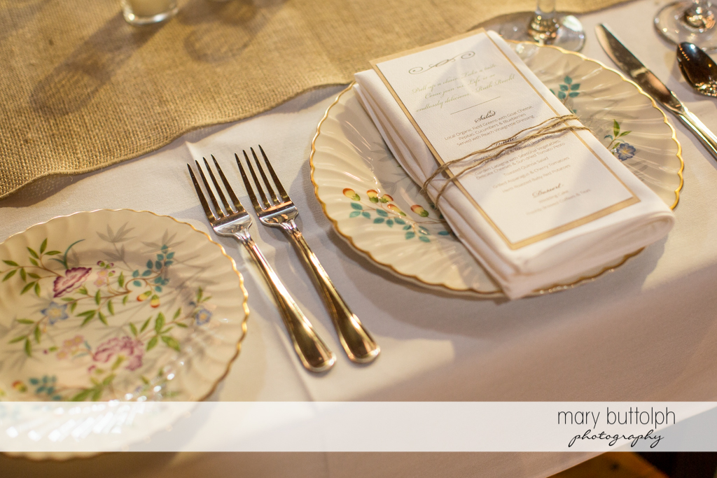 Beautiful silverware adorn the table at Mandana Barn Wedding