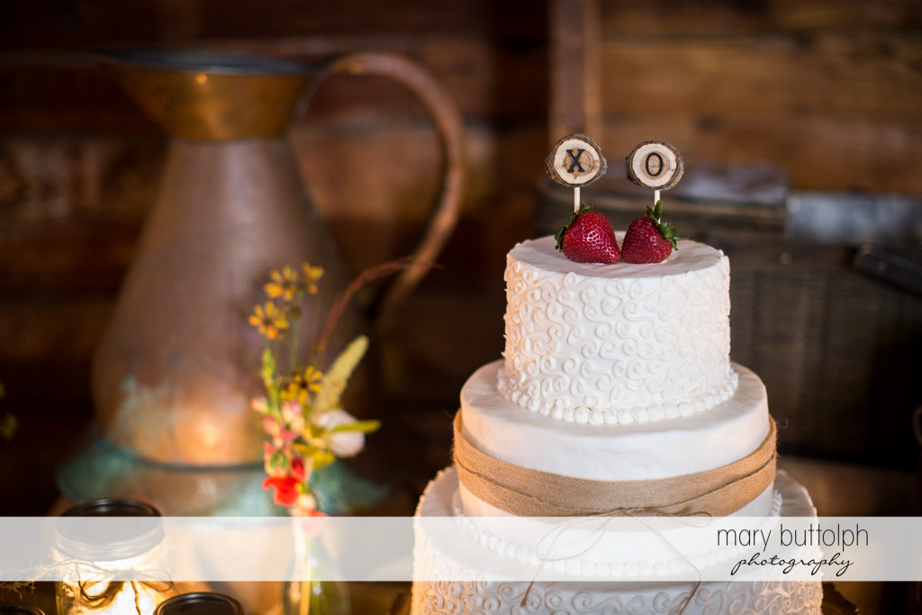 Same sex couple's wedding cake at Mandana Barn Wedding