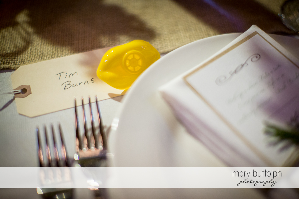 A yellow lip whistle awaits one of the guests at the wedding venue at Mandana Barn Wedding